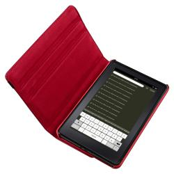 Red Leather Swivel Case/ Protector/ Chargers for Amazon Kindle Fire