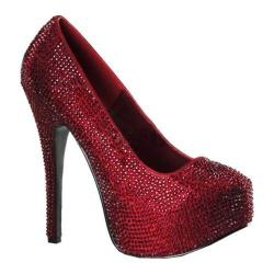 Women's Bordello Teeze 06R Ruby Red Satin/Rhinestones