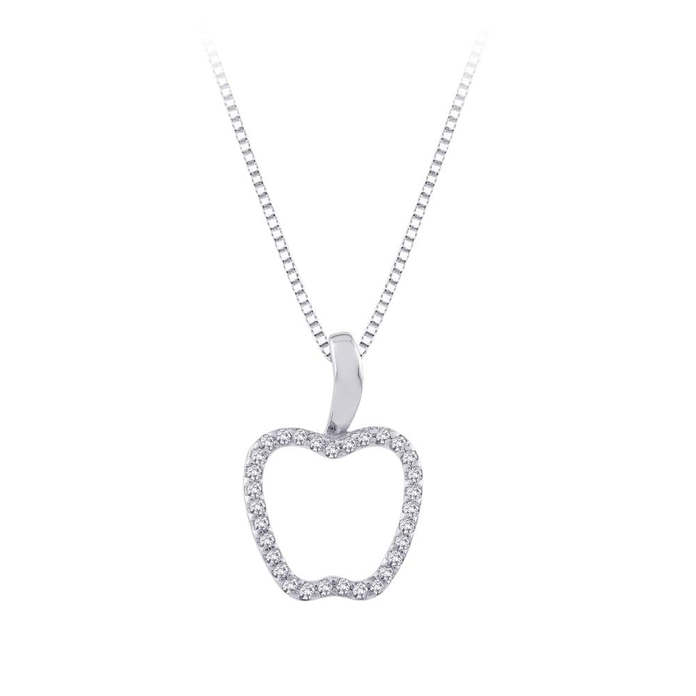 1/5 TDW Sterling Silver White Diamond Apple Pendant (GH, I2-I3)