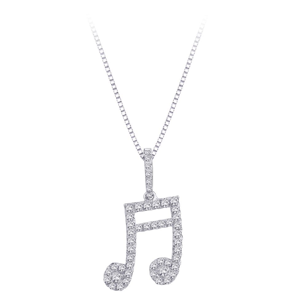 1/2 TDW Sterling Silver White Diamond Musical Note Pendant (GH-I2I3)