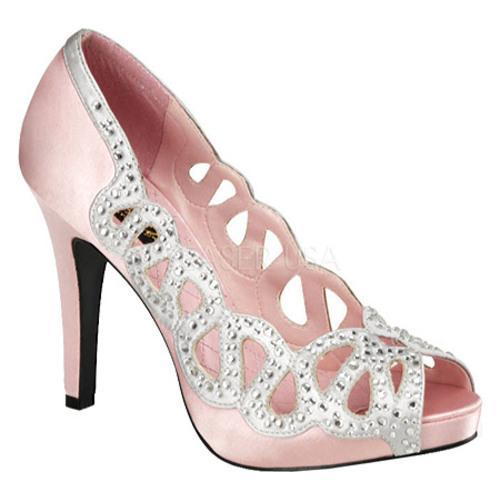 Women's Pin Up Ava 12 Baby Pink/Silver Satin