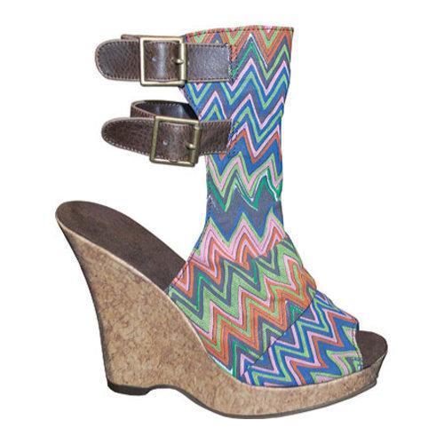 Women's Sun Luks by Muk Luks Scrunch Peep Toe Wedge Painted Stripe/Cork Heel