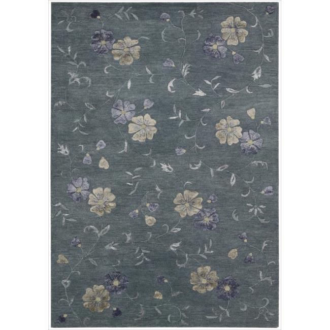 Nourison Hand-tufted Oasis Scattered Floral Slate Blue Rug (8' x 11')
