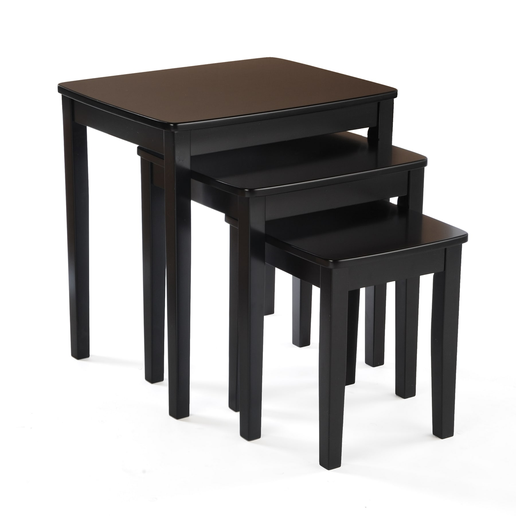 Bianco Collection 3 Piece Black Nesting Table Set Free