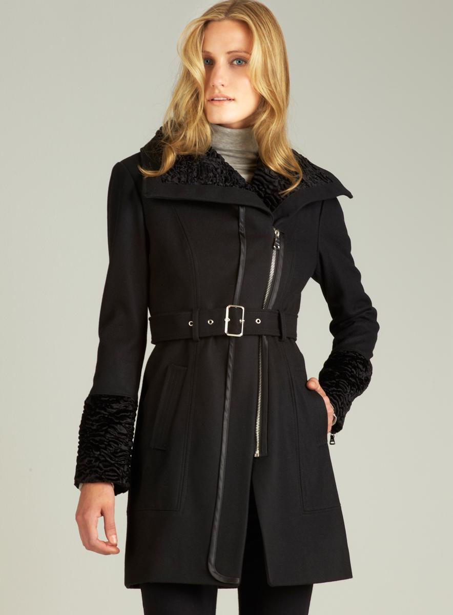 Guess Black Wool Coat With Faux Fur Collar Free Shipping