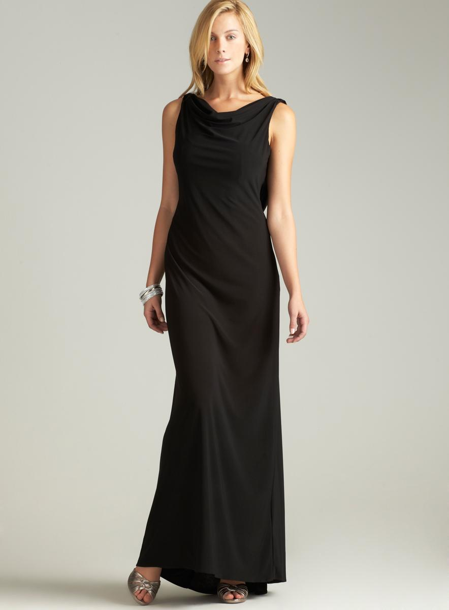 Nightway Rhinestone Draped Back Gown