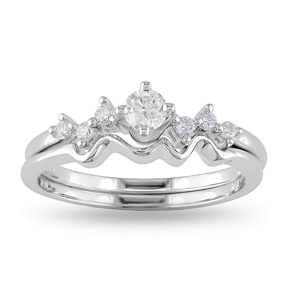 Miadora 14k White Gold 1/4ct TDW Diamond Ring Set