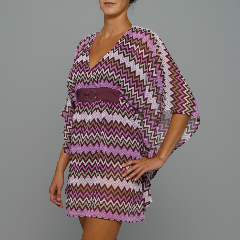Perry Ellis V-Neck Tunic Swim Coverup - Thumbnail 0