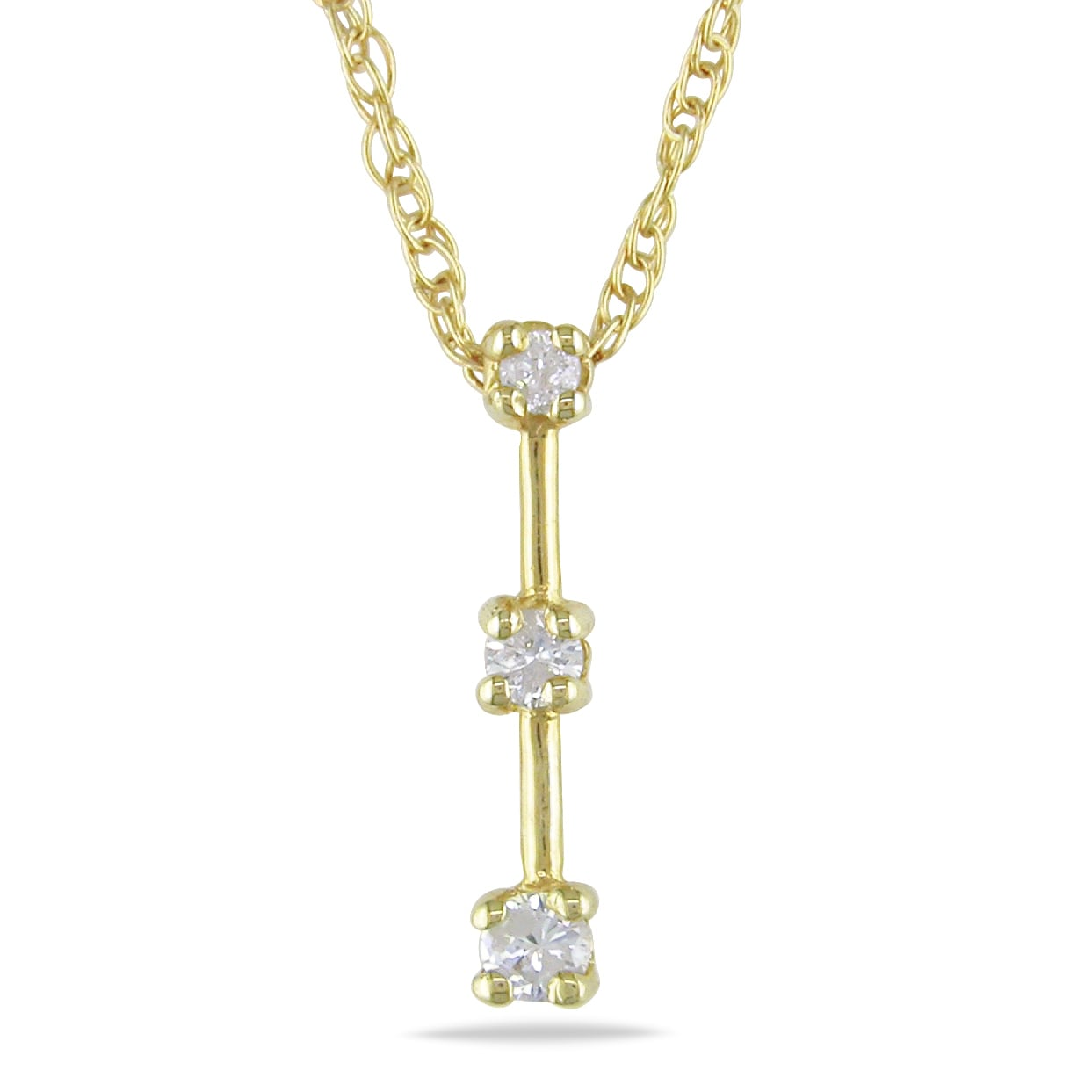 Miadora 10k Yellow Gold 1/10ct TDW Diamond 3-stone Necklace (I-J, I2-I3)