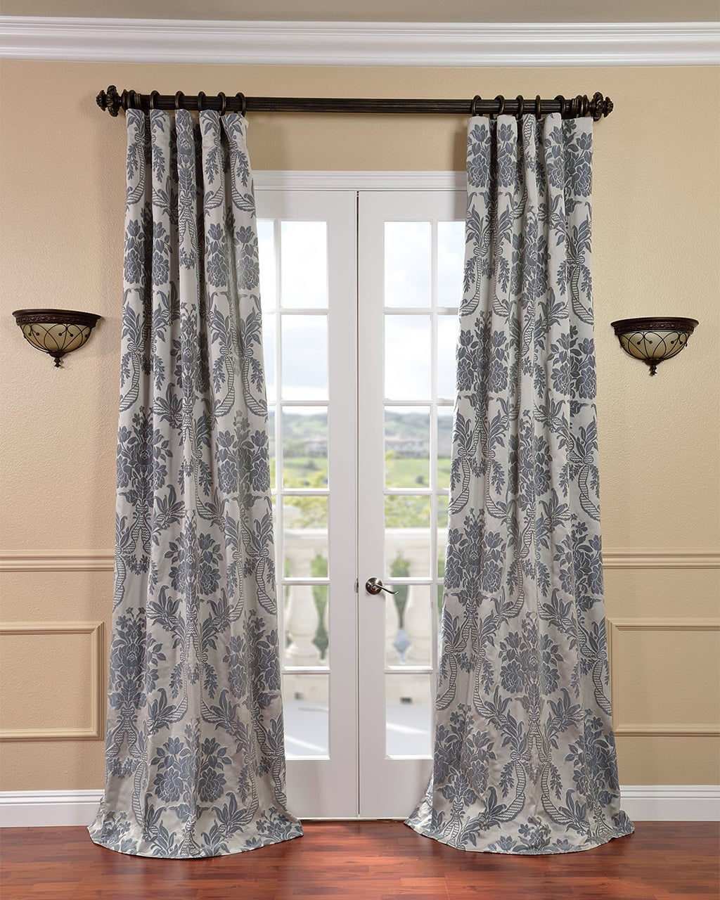 Grey curtains living room - Exclusive Fabrics Magdelena Silver Blue Faux Silk Jacquard Curtain Panel