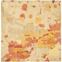 Safavieh Handmade Soho Splashes Modern Abstract Beige Wool Rug - 8' x 8' Square