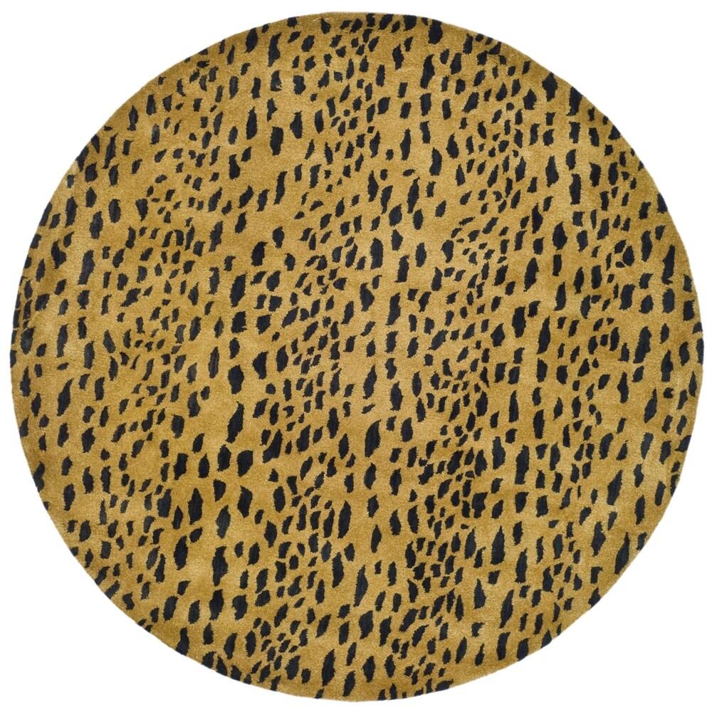 Safavieh Handmade Soho Leopard Skin Beige Wool Rug (8' Round)