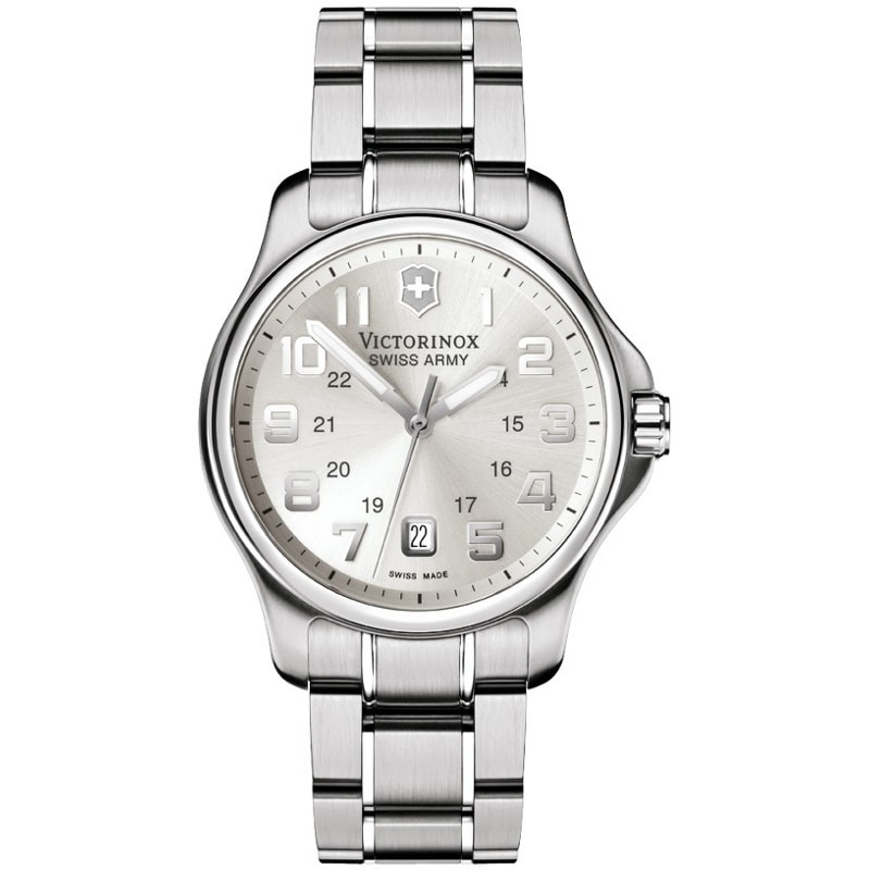 Swiss Army Men's Officer's Silver Dial Steel Watch