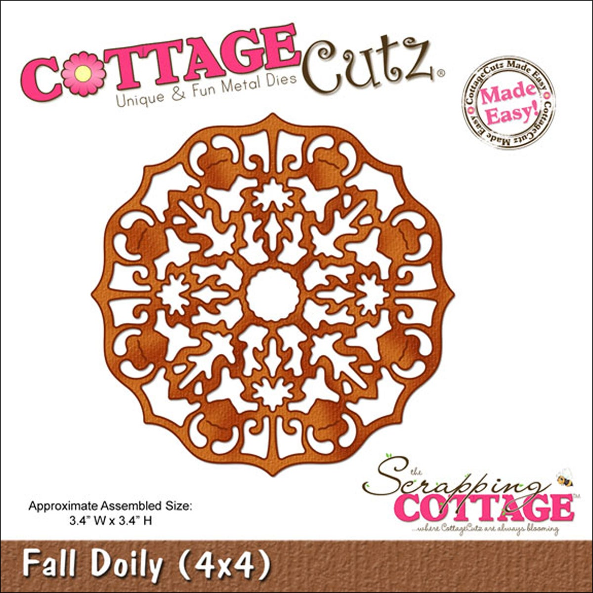 """CottageCutz Die 4""""X4""""-Fall Doily Made Easy"""