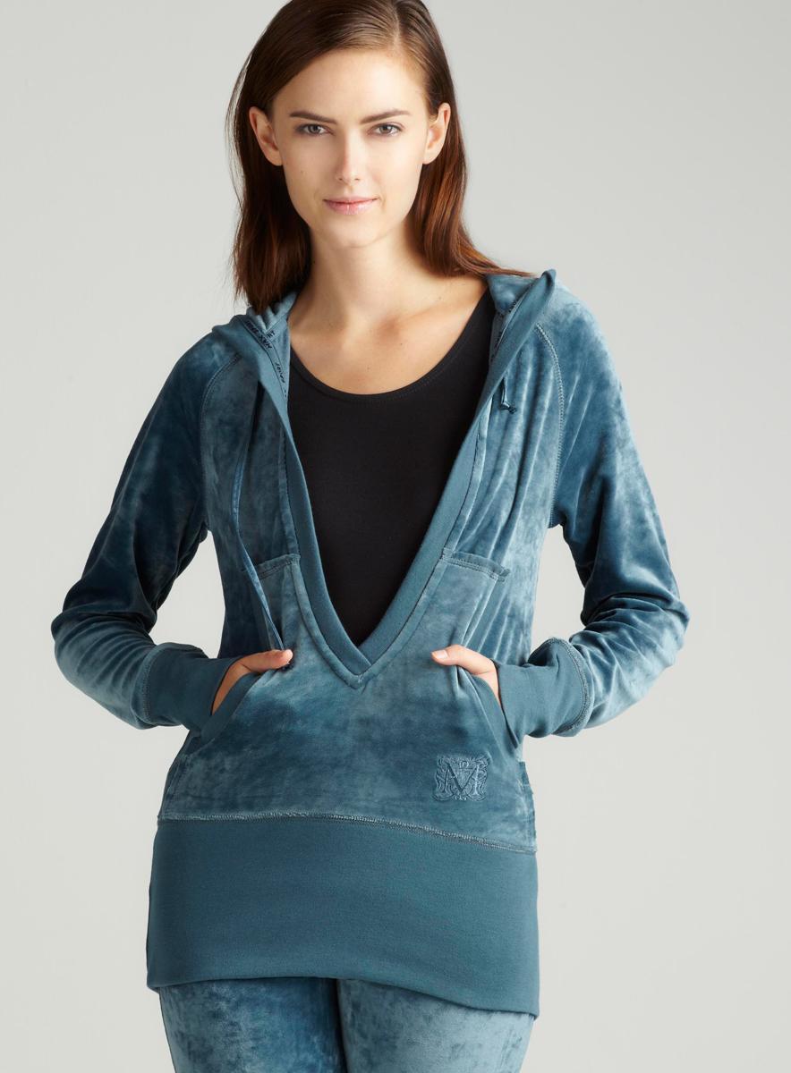Max Sport Velour Pullover In Blue