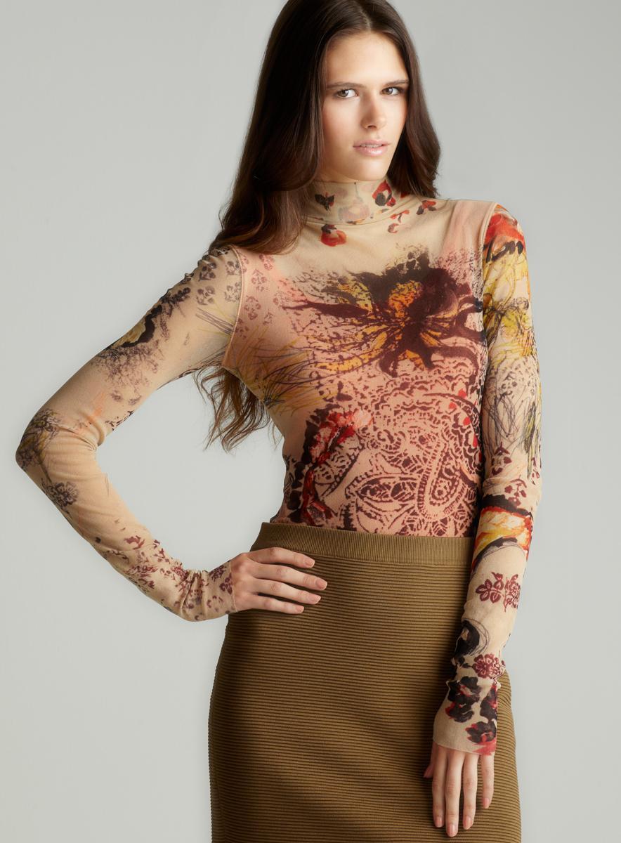 Fuzzi Floral Print Mesh Turtleneck