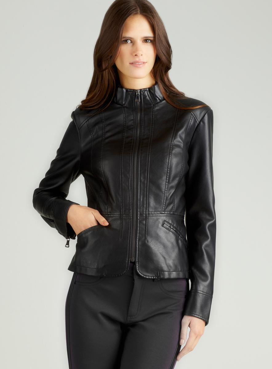 Giacca Zip Front Faux Leather Jacket