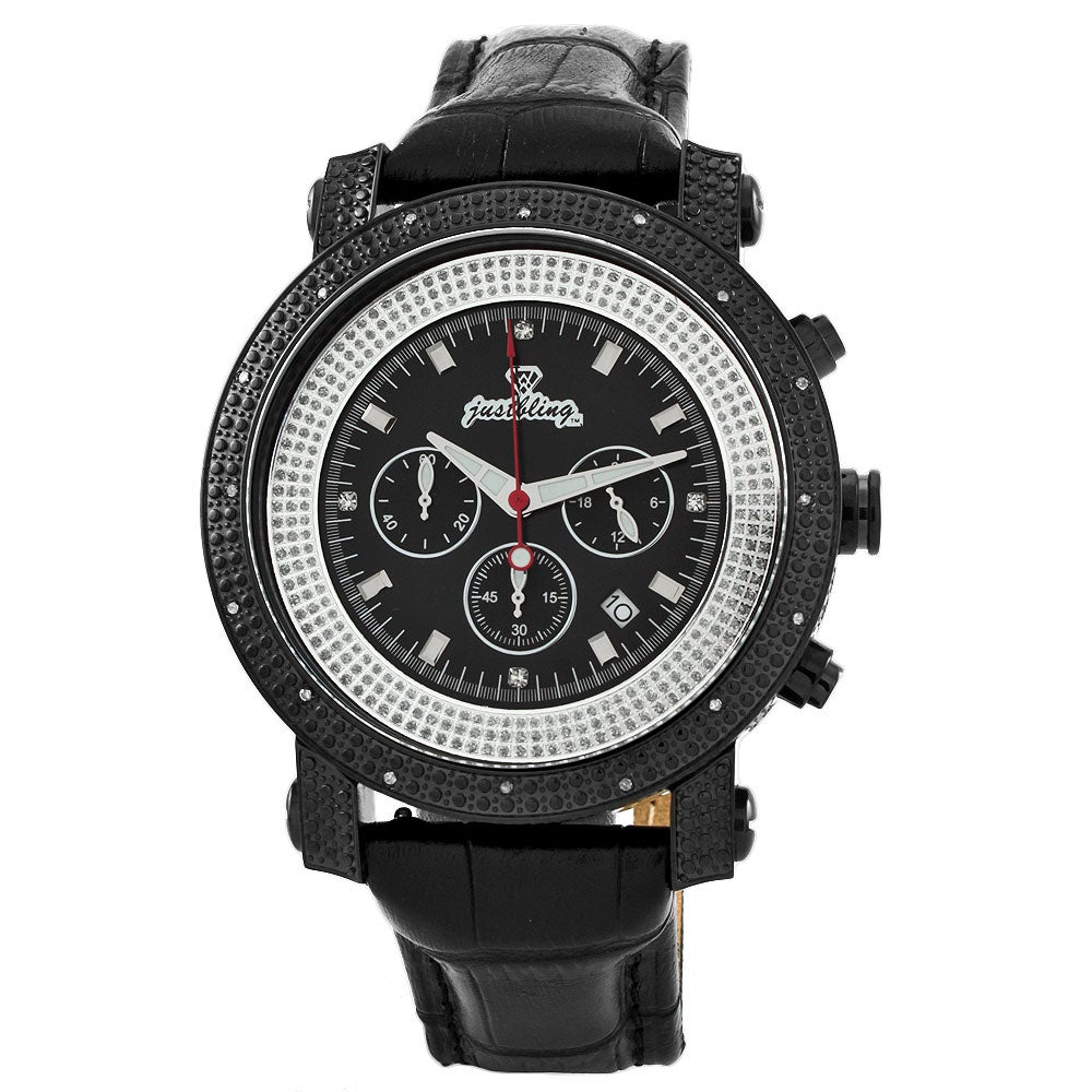 JBW Men's 'Victor' Black Ion-plated Stainless Steel Diamond Watch - Thumbnail 0