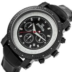 JBW Men's 'Victor' Black Ion-plated Stainless Steel Diamond Watch - Thumbnail 1