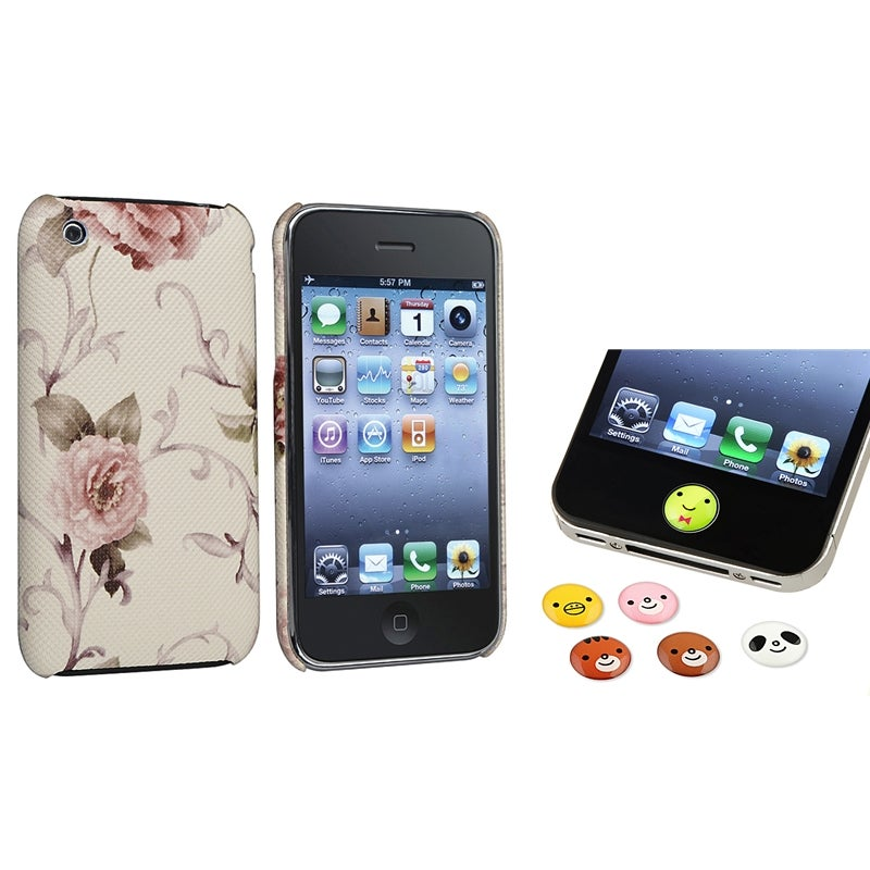 White/ Pink Flower Case/ Home Button Stickers for Apple iPhone 3G/ 3GS