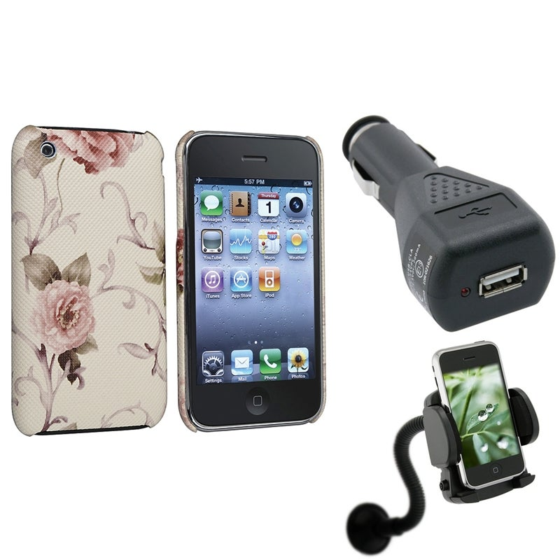White/ Pink Flower Case/ Holder/ Charger for Apple iPhone 3G/ 3GS