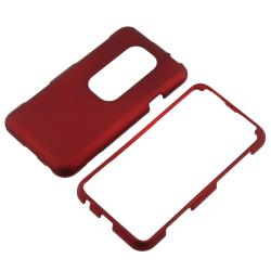 Red/ White/ Blue Rubber Coated Cases/ Screen Protector for HTC EVO 3D - Thumbnail 2