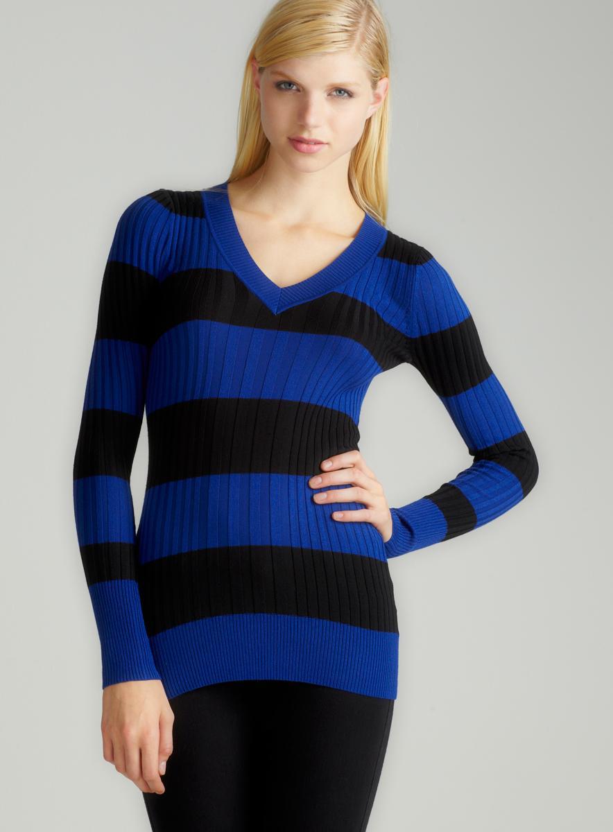 Prince Of Thieves L/S V-Neck Stripe Rib Sweater