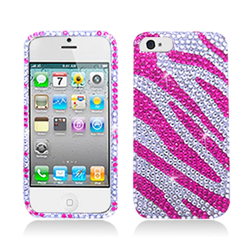 BasAcc Full Diamonds White Pink Zebra Case for Apple iPhone 5