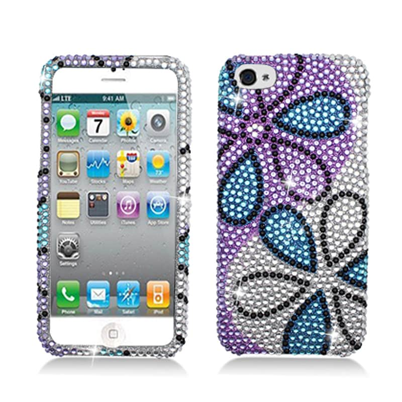 BasAcc Full Diamonds Blue Purple Flower Case for Apple iPhone 5 - Thumbnail 0