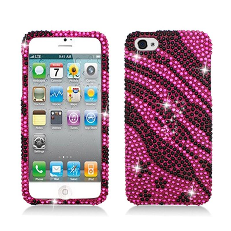 BasAcc Full Diamonds Pink Zebra Stars Case for Apple iPhone 5