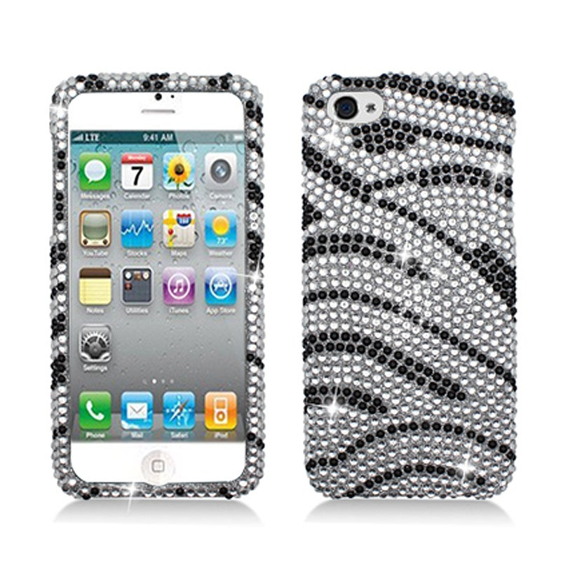BasAcc Full Diamonds Black/ White Zebra Case for Apple iPhone 5