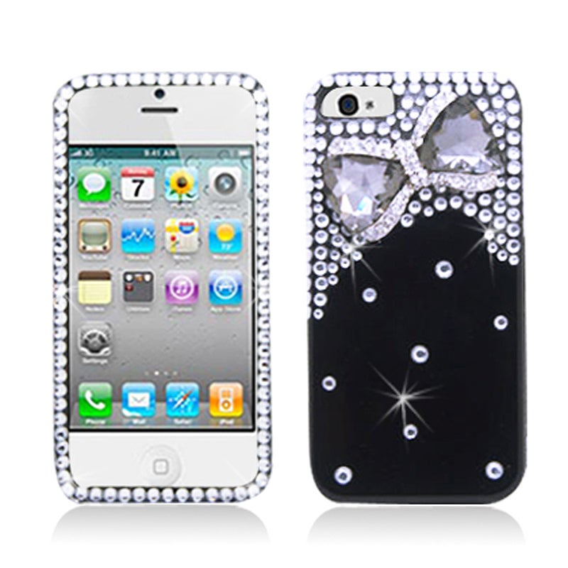 BasAcc Diamonds with 3D Black Bow Tie Case for Apple iPhone 5