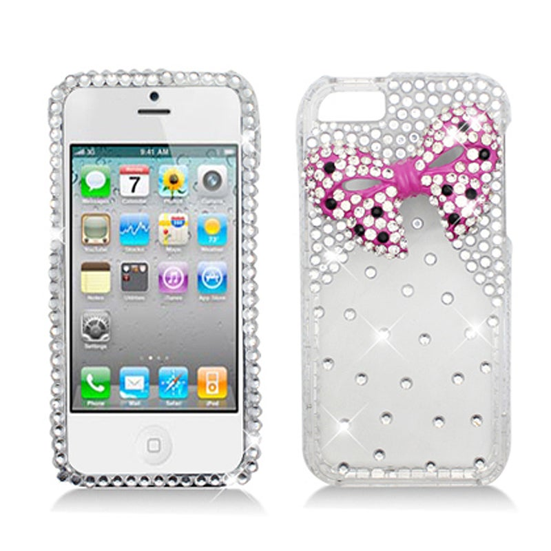 BasAcc Diamonds with 3D Pink Bow Tie Case for Apple iPhone 5