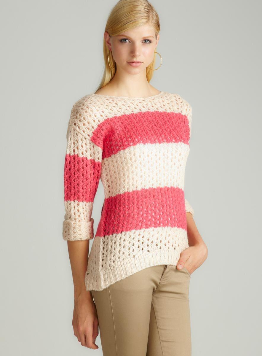 JJ Basics Striped Openweave Hilo Sweater