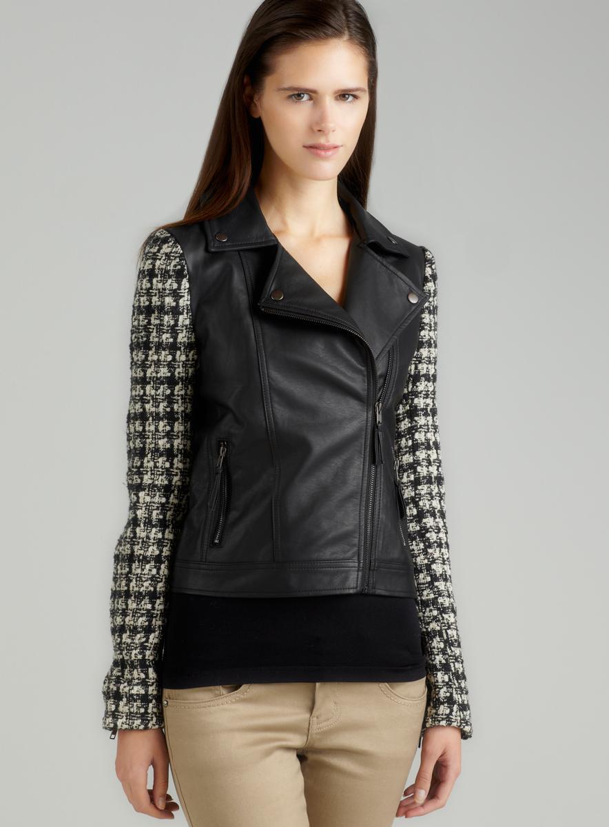 Romeo & Juliet Couture Tweed/Pu Moto Jacket