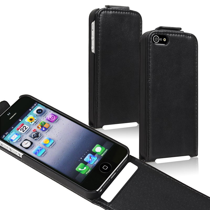 BasAcc Black Snap-on Leather Case for Apple iPhone 5 - Thumbnail 0