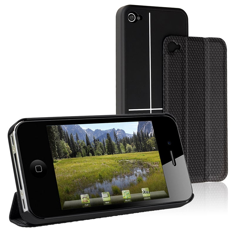 BasAcc Black Snap-on Case with Smart Cover for Apple iPhone 4/ 4S
