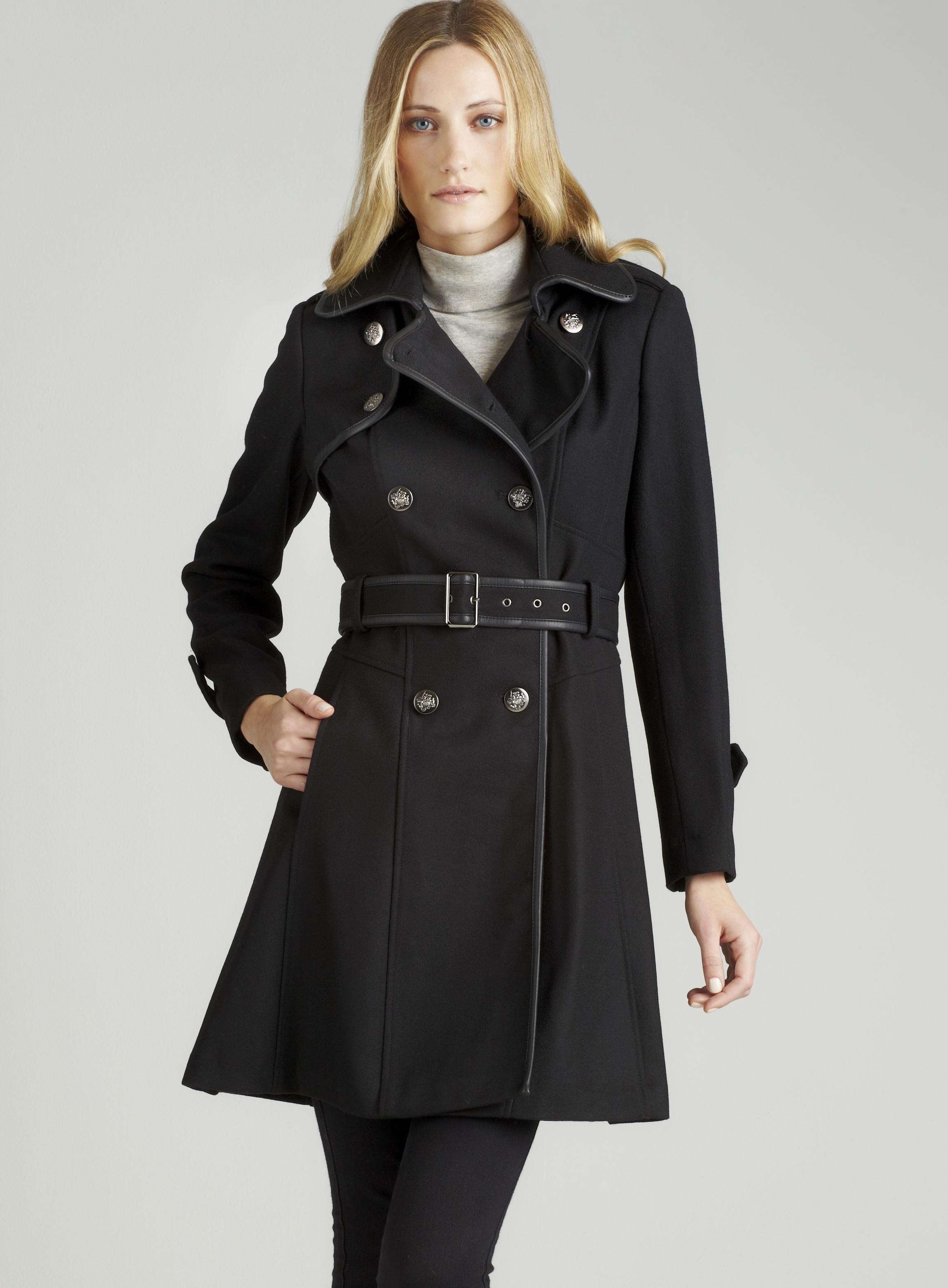 Guess Wool Trench With Faux Leather