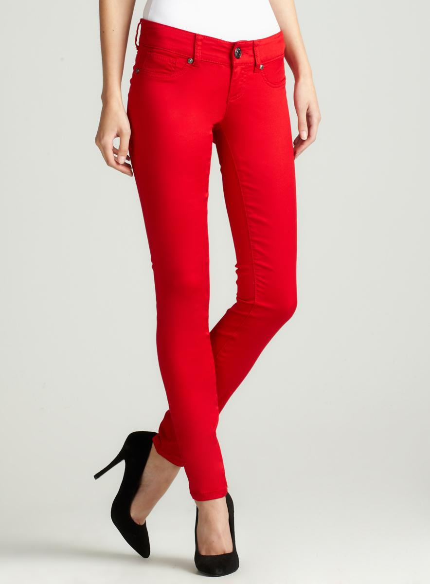 Seven 7 Skinny Satin Jean In Red