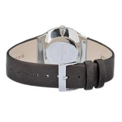 Skagen Men's Stainless Steel Silver Dial Brown Leather Strap Watch - Thumbnail 1