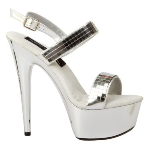 Women's Highest Heel Amber-111 Silver Metallic - Thumbnail 1