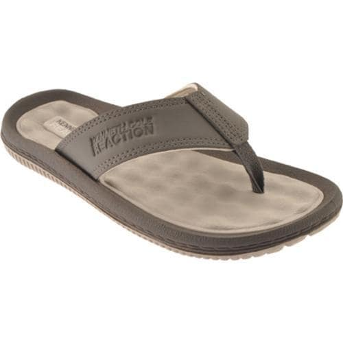 Men's Kenneth Cole Reaction Back Flip Grey Leather - Thumbnail 0