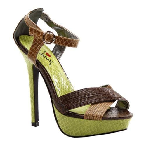 Women's Luichiny Bow Tie Tan/Brown/Green Print Imi Leather
