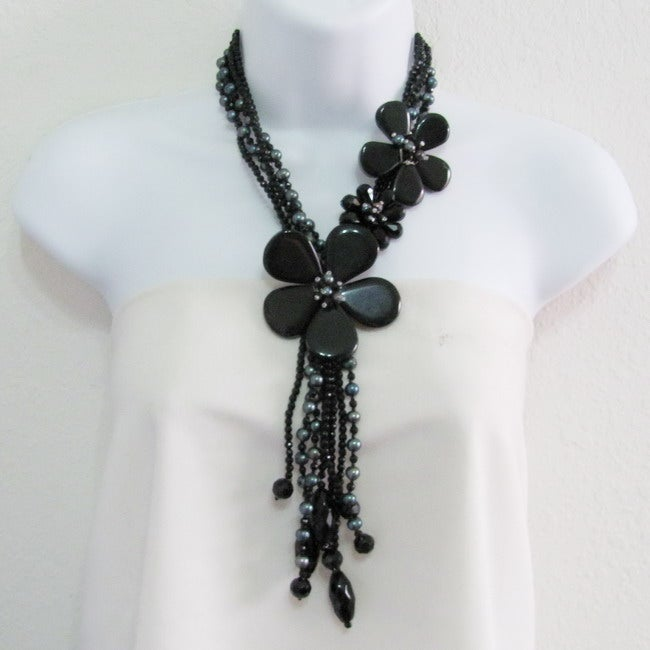 Floral Perfection Black Agate/ Freshwater Pearl Necklace (Thailand)