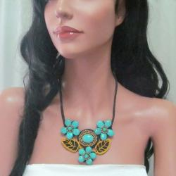 Floral Bouquet Turquoise/ Brass Embellished Necklace (Thailand)