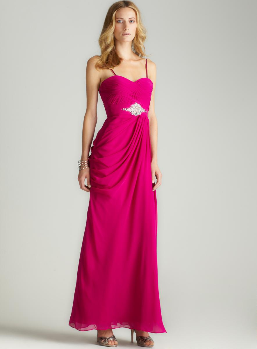Adrianna Papell Embellished Drape Goddess Gown