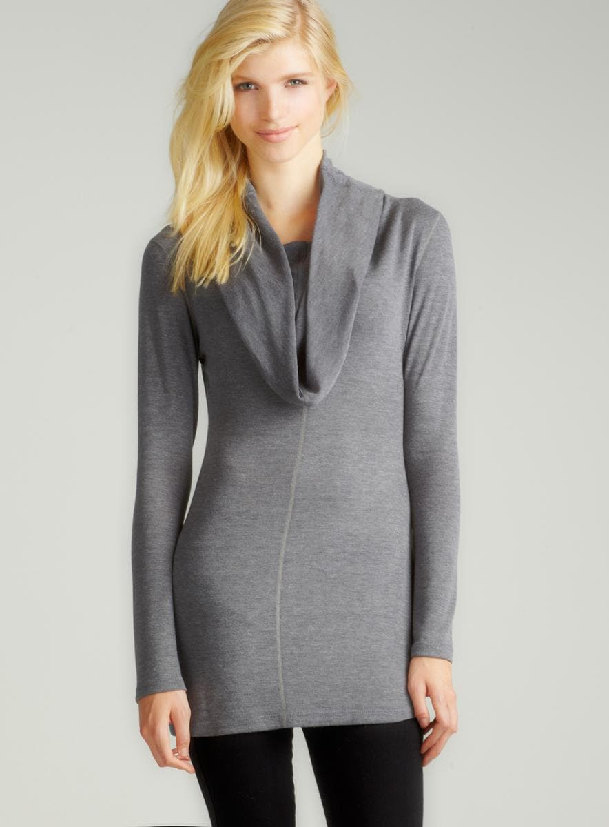 Annalee + Hope Charcoal Cowl Neck Tunic
