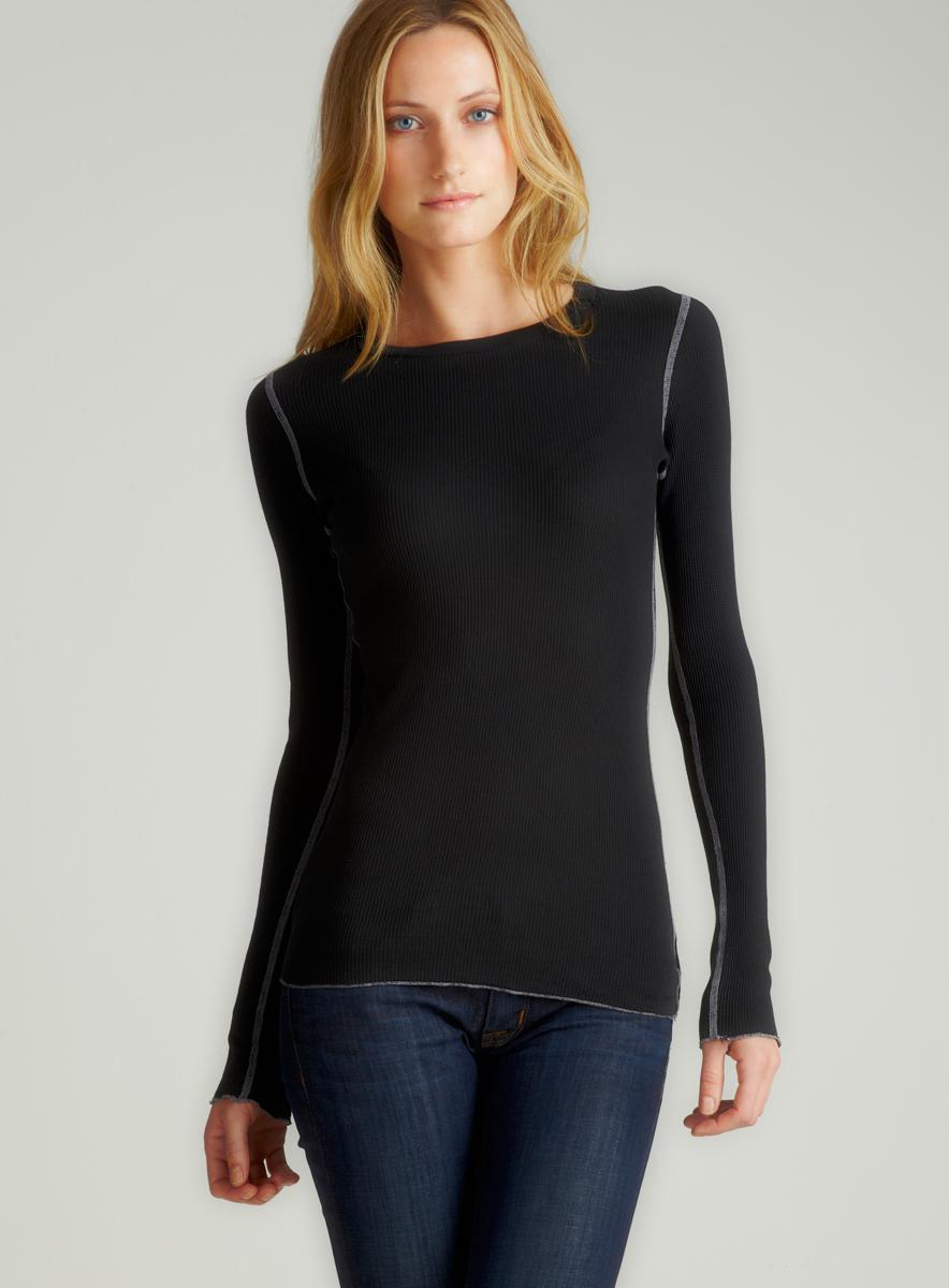 Fickle L/S Crew Nk Thermal In Black