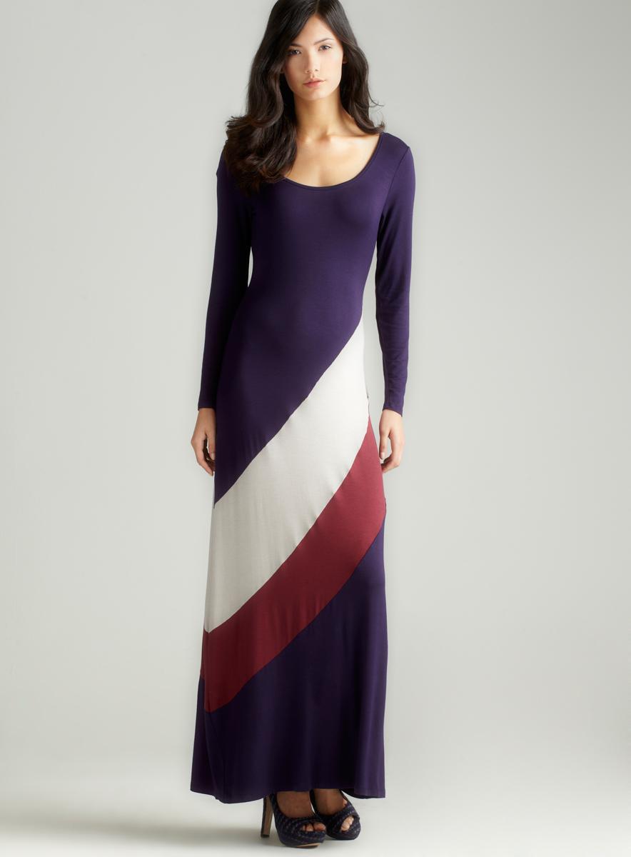 Green Envelope Long Sleeve Colorblocked Dress