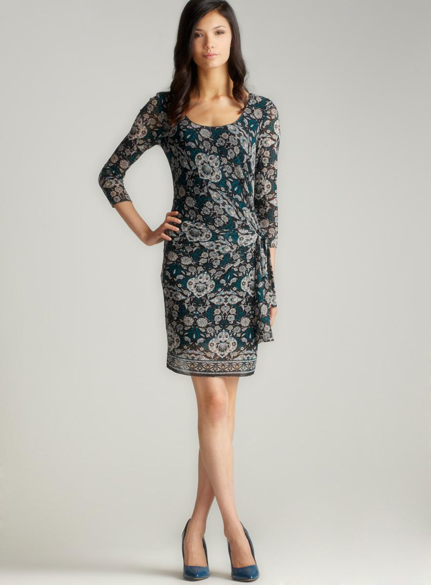 Studio M Long Sleeve Printed Mesh Dress